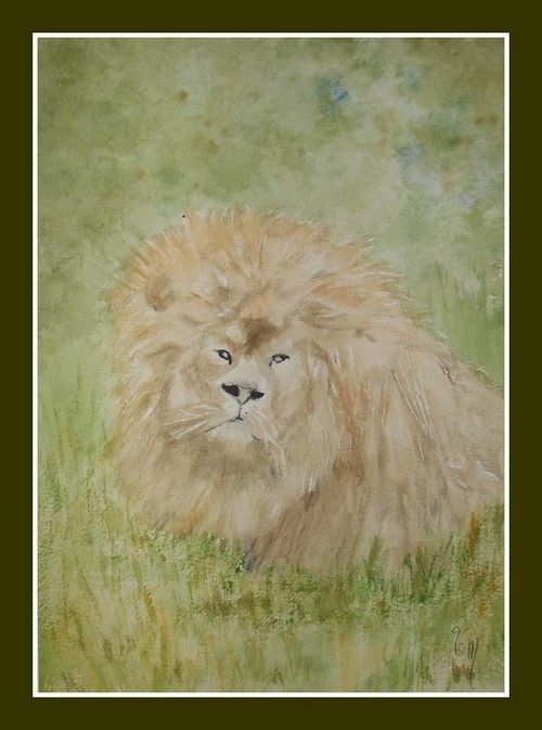 LE LION DU CERZA - AQUARELLE ANIMALIERE UNIQUE